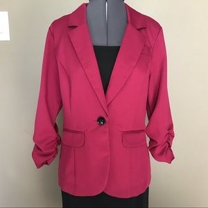 Maurices Cherry Red Ruffle Back Blazer